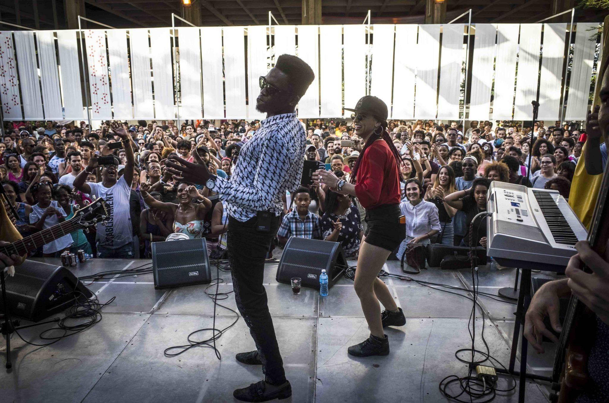 Cimafunk concert at the Cuba Pavilion, Havana. Photo: Marie Aureille.
