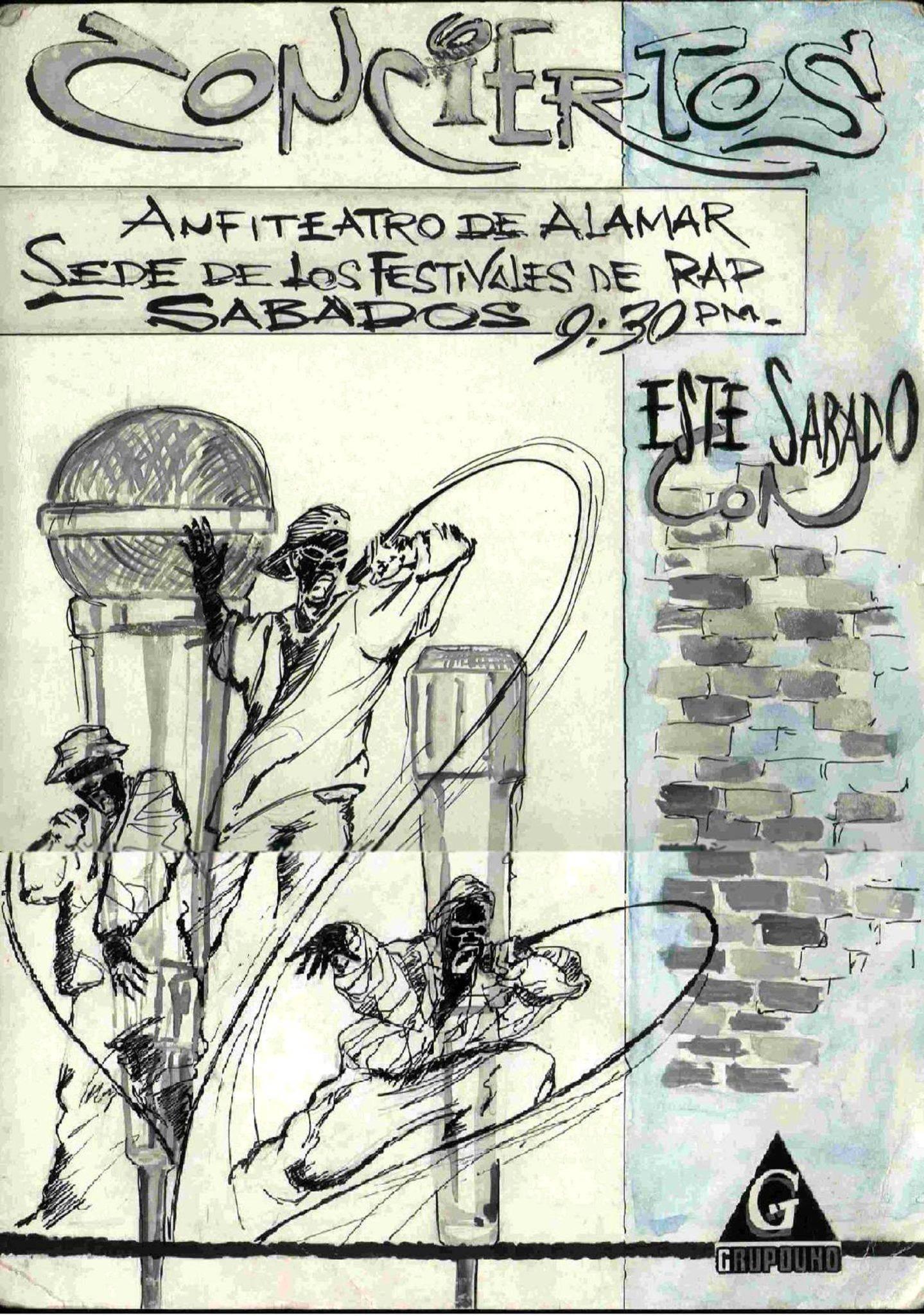 Este cartel de Tagles Heredia para la promoción de un concierto de rap en el Anfiteatro de Alamar forma parte de la exposición. Foto: Cortesía de Alejandro Zamora.