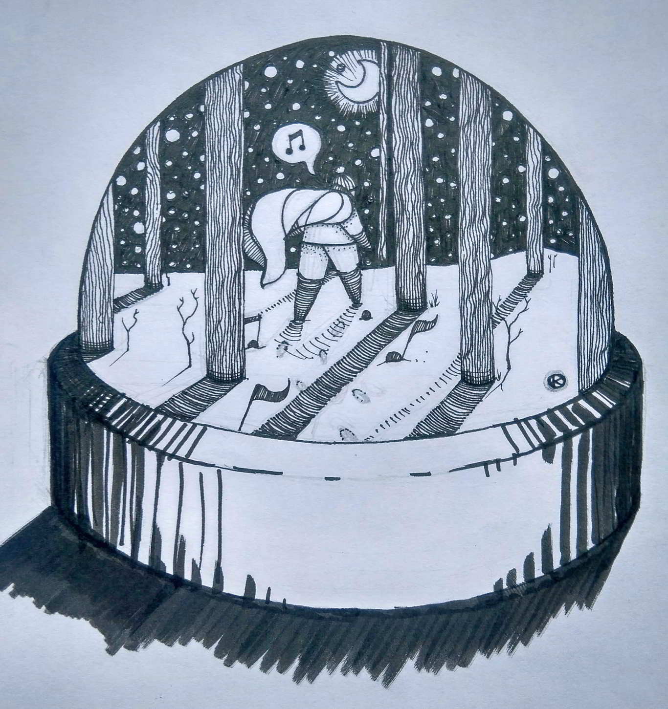 Inktober Día 11: Snow. Ilustración: Kmilo Nieto / Magazine AM:PM.