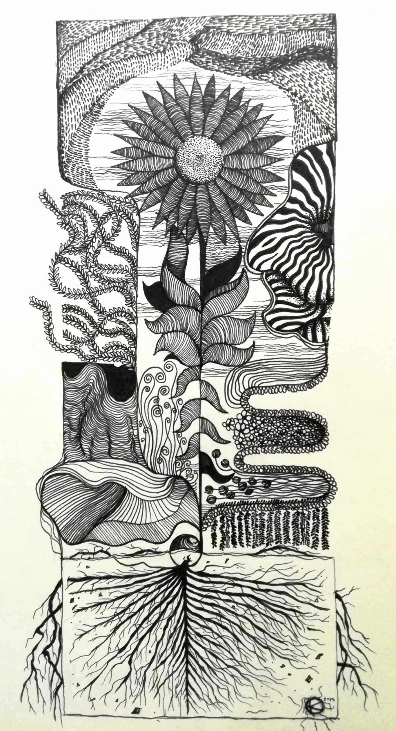 Inktober Día 14: Overgrown. Ilustración: Kmilo Nieto / Magazine AM:PM.