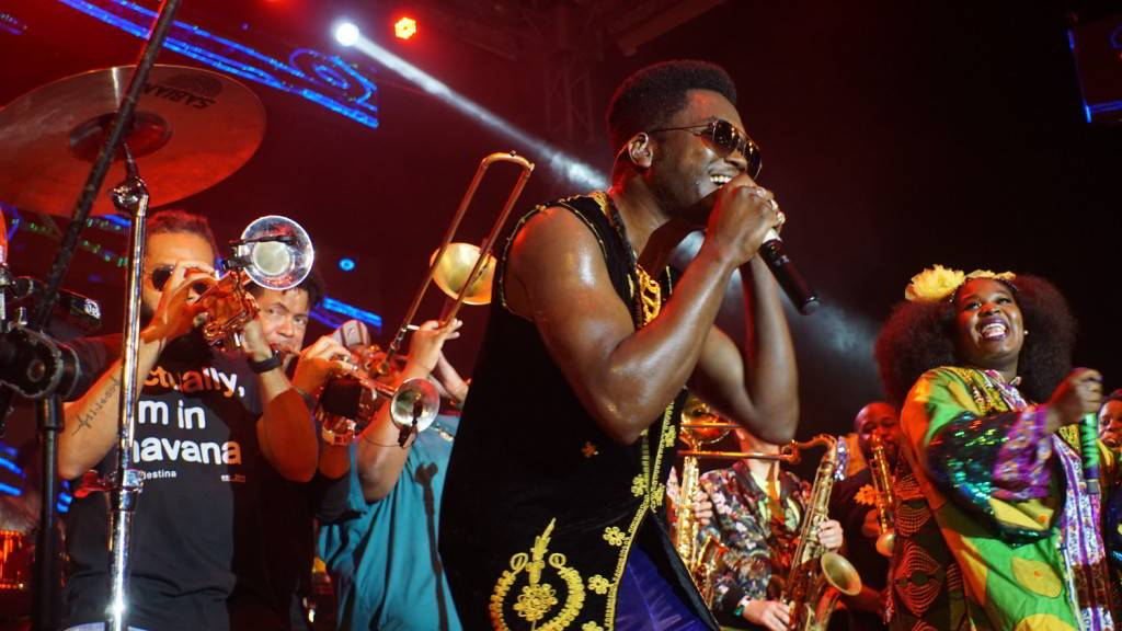 Cimafunk, The Soul Rebels and Tank and The Bangas in the Salon Rosado of La Tropical, as part of the Getting Funky in Havana event, at the International Jazz Plaza Festival 2020. Photo: Rolo Cabrera / Magazine AM:PM.