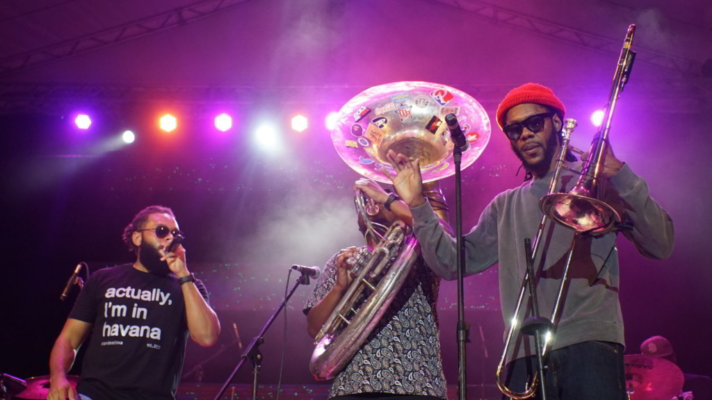 The Soul Rebels in the Salon Rosado of La Tropical, as part of the Getting Funky in Havana event, at the International Jazz Plaza Festival 2020. Photo: Rolo Cabrera / Magazine AM:PM.