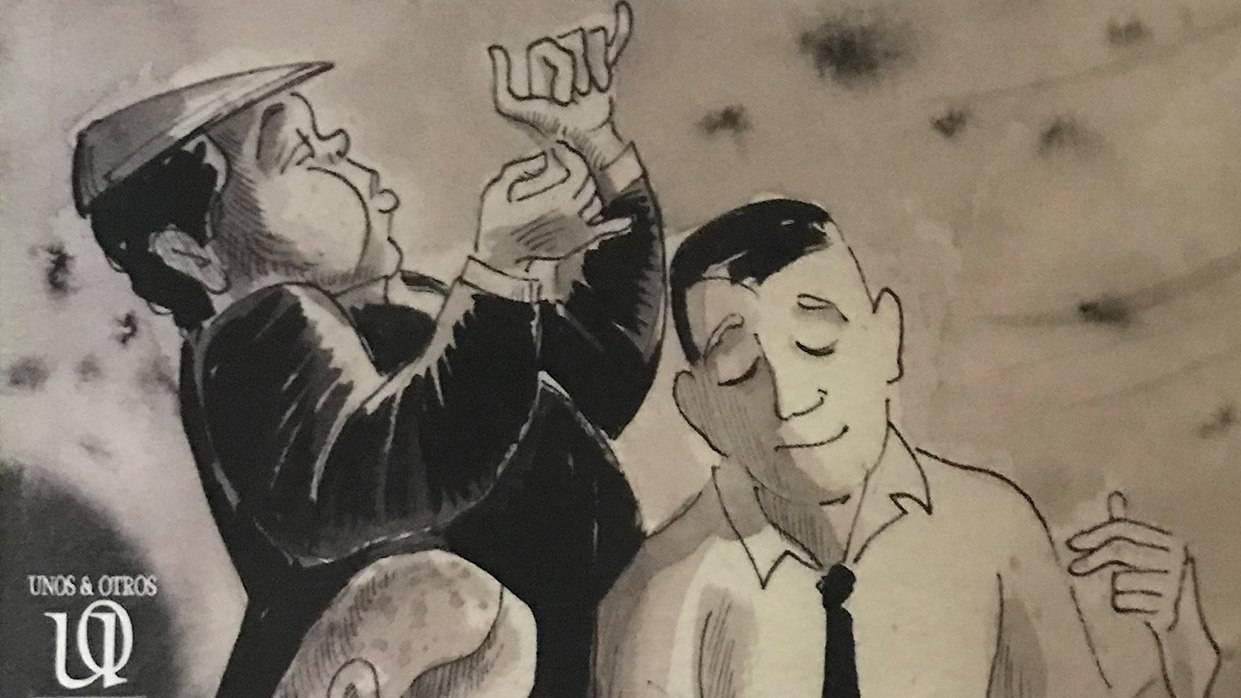 Detalle de la portada del libro Kabiosiles. Los músicos de Cuba, de Ramón Fernández-Larrea. Ilustración: Armando Tejuca.