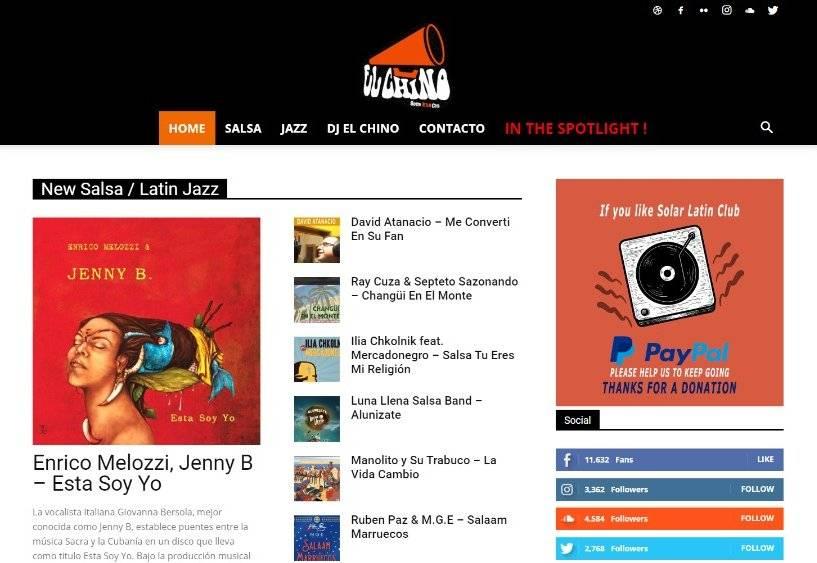 Detalle de la portada del sitio web Solar Latin Club, dedicado a la difusión de música cubana.